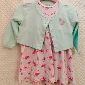 Little Me butterfly dress with cardigan